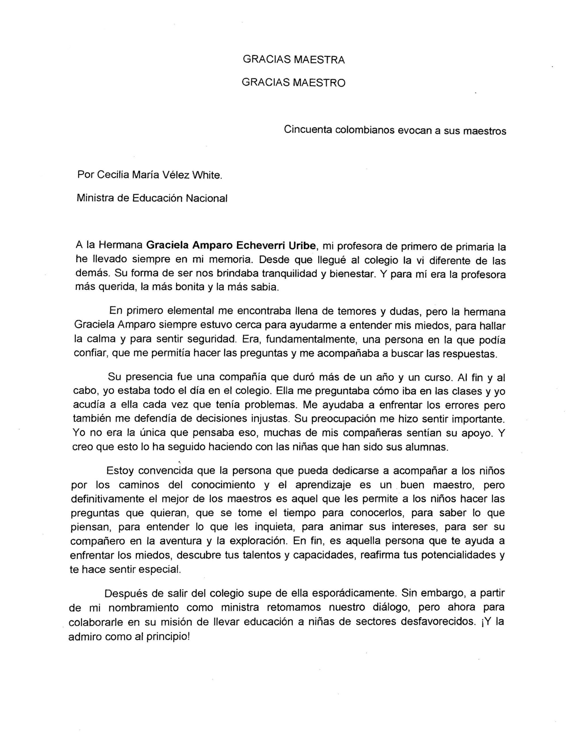 Testimonio de Cecilia María Vélez